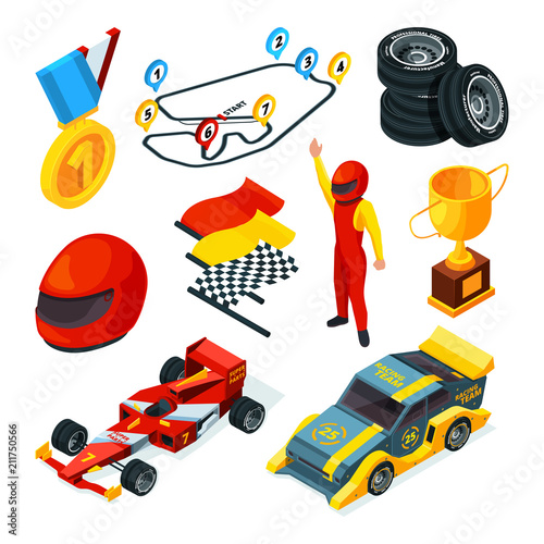 Foto Spatwand F1 Sport racing symbols. Isometric pictures of racing cars and formula 1 symbols
