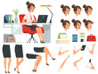 Constructor of business woman. Cartoon mascot creation kit of business woman