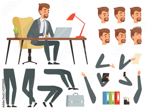 Businessman workspace. Vector mascot creation kit. Various key frames for business character animation