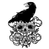 Vector illustration with a human skull, raven and flowers. Gothic brutal skull. For print t-shirts or book coloring. - 211757356