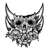 Vector illustration with a human skull and flowers. Gothic brutal skull. For print t-shirts or book coloring. - 211757399