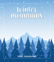 Winter Mountains Vector Background © oxinoxi