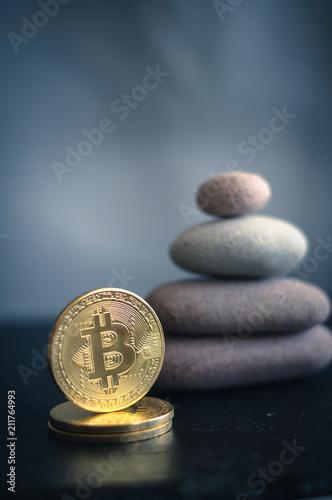 bitcoin and stone pyramid - 211764993