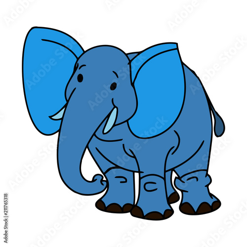 Fototapeta Elephant cartoon illustration isolated on white background for children color book