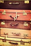 Stack of old vintage suitcases, vintage process - 211768786