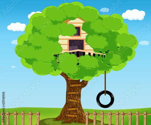 Tree house. House on tree for kids. Children playground with swing and ladder. style of illustration. - 211768958