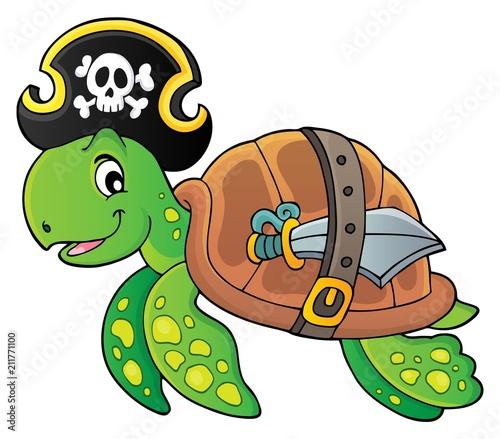 Fotobehang Voor kinderen Pirate turtle theme image 1