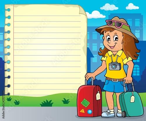 Fotobehang Voor kinderen Notepad page with happy tourist woman