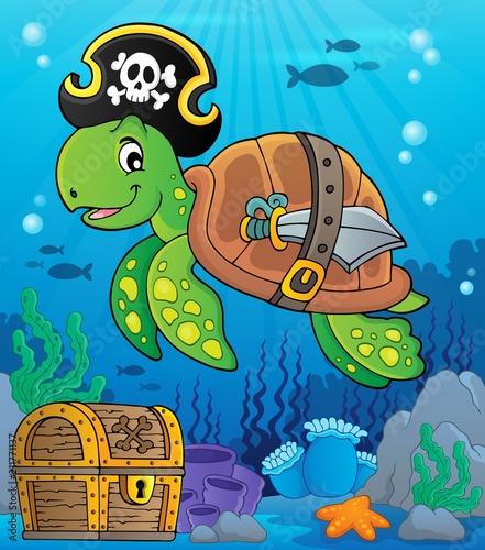 Fotobehang Voor kinderen Pirate turtle theme image 2