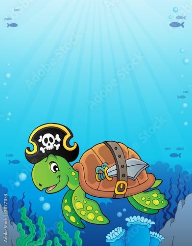 Fotobehang Voor kinderen Pirate turtle theme image 3
