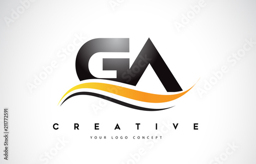 Fototapeta GA G A Swoosh Letter Logo Design with Modern Yellow Swoosh Curved Lines.