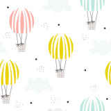 Cute seamless pattern with pastel hot air balloons and clouds. Vector hand drawn illustration. - 211778332