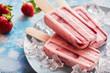 Leinwanddruck Bild - Delicious frozen homemade strawberry popsicles
