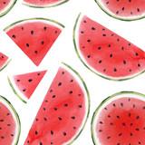 Watercolor watermelon seamless vector pattern - 211780956