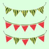 Watercolor watermelon vector flags - 211781107