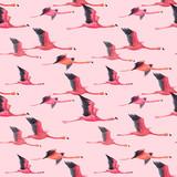 Watercolor flamingo vector pattern - 211781159
