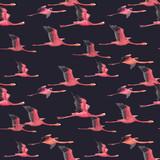 Watercolor flamingo vector pattern - 211781175