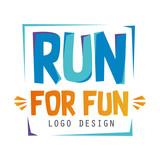 Run for fun logo design, inspirational and motivational slogan for running poster, card, decoration banner, print, badge, sticker vector Illustration