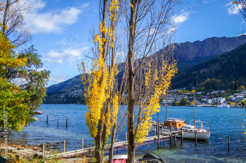 Plexiglas Pier Boat on Lake Wakatipu, New Zealand