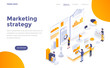 Flat color Modern Isometric Concept Illustration - Marketing strategy