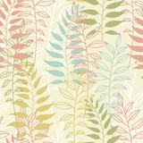 Vector seamless pattern with wild plants, herbs and branches, colorful botanical illustration, floral elements, hand drawn repeatable background. Artistic backdrop. - 211796969