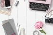 Leinwanddruck Bild - styled feminine desk background with various writing supplies, vintage camera and pink peony - top view, copyspace for your text