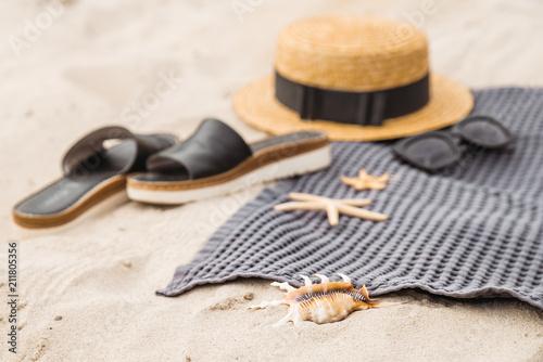 Fototapeta summer concept. beach stuff on sand