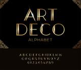 Elegant golden font and alphabet in Art deco style. - 211807389