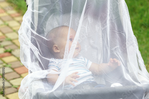 Child in stroller covered with protective net during walk. Baby carriage with anti-mosquito white cover. Midge protection for children during outdoor walking season - 211812512