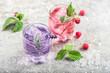 Leinwanddruck Bild - Drink raspberries lavender flowers ice Cold summer lemonade