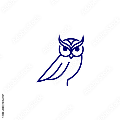 Fotobehang Uilen cartoon owl logo modern outline minimalist download template vector graphic