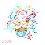 Greeting holidays illustration. Watercolor cartoon pig in cupcake with cream and confetti. Funny dessert. Birthday symbol. Food. Perfect for T-shirts, invitations, cards, phone cases. - 211822977