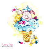 Greeting holidays illustration. Watercolor cartoon pig in ice cream cone with candies and waffle. Funny dessert. Birthday symbol. Food. Perfect for T-shirts, invitations, cards, phone cases. - 211823148