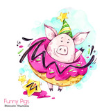 Greeting holidays illustration. Watercolor cartoon pig in big donut with cream and confetti. Funny dessert. Birthday symbol. Food. Perfect for T-shirts, posters, invitations, phone cases - 211823157