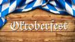 """Leinwanddruck Bild - Tischtuch mit bayrischem Rautenmuster auf Holzuntergrund mit Aufschrift """"Oktoberfest"""""""