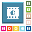 Movie contrast white icons on edged square buttons