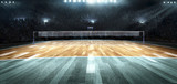 Fototapeta Sport - Empty professional volleyball court in lights © masisyan
