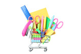 School supplies in shopping cart on white background - 211830337