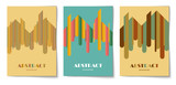 Set of vertical background with abstract rounded strip shapes. Design template of flyer, banner, cover, poster in A4 size. Vector illustration. - 211835327