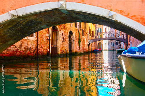 Small bridges over canal in Venice