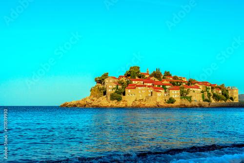 Fotobehang Turkoois Sveti Stefan - Saint Stephan view.Montenegro