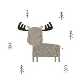 Funny elk in the forest. Scandinavian graphic. Vector hand drawn illustration. - 211840108