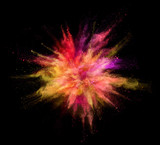 Explosion of coloured powder on black background - 211843733