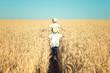 Leinwanddruck Bild - Two brothers run around the wheat field.