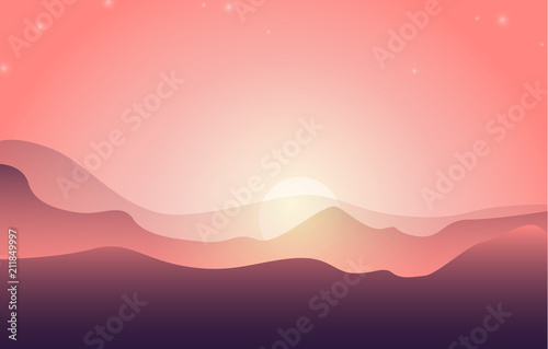 Low poly beautiful mountain landscape. Vector illustration. - 211849997