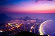 Quadro Night View Of Rio de Janeiro with Ipanema Beach, Hills, Lagoon and Urban Areas Just Before the Sunrise