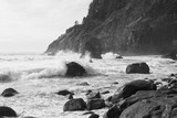 Breaking waves in Black and White, Cape Meares, Tillamook County, Oregon - 211850756