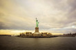 The Statue Of Liberty in New York City on a winter overcast day.