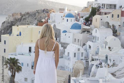 Fotobehang Santorini Back Santorini