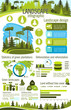 Landscape design infographic with green tree plant